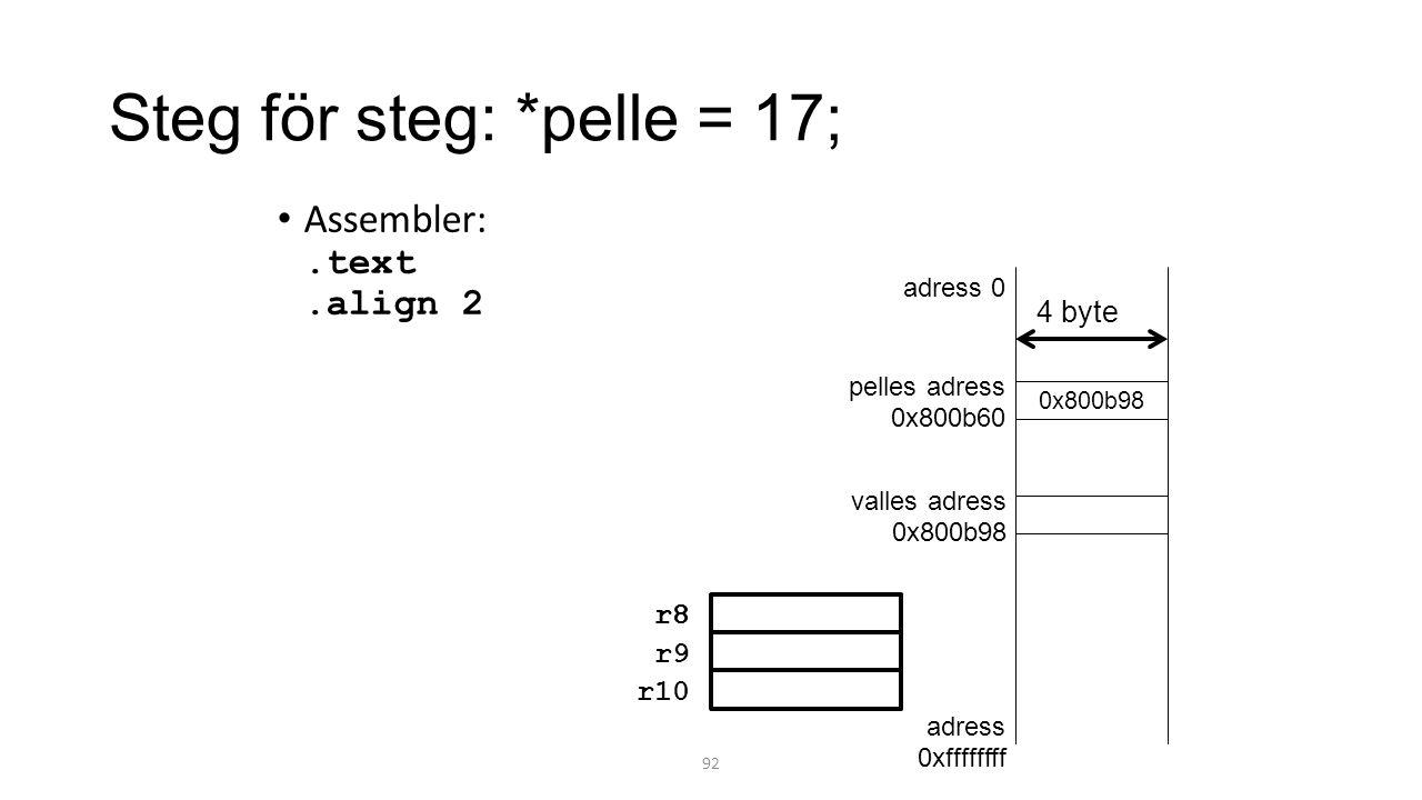 Steg för steg: *pelle = 17;