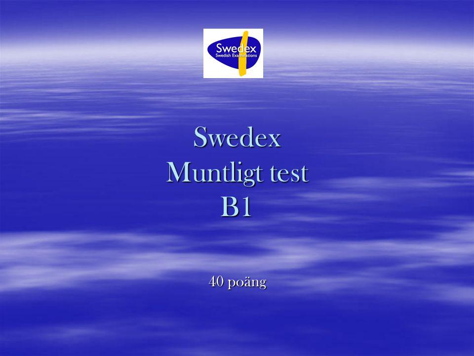 Swedex Muntligt test B1 40 poäng