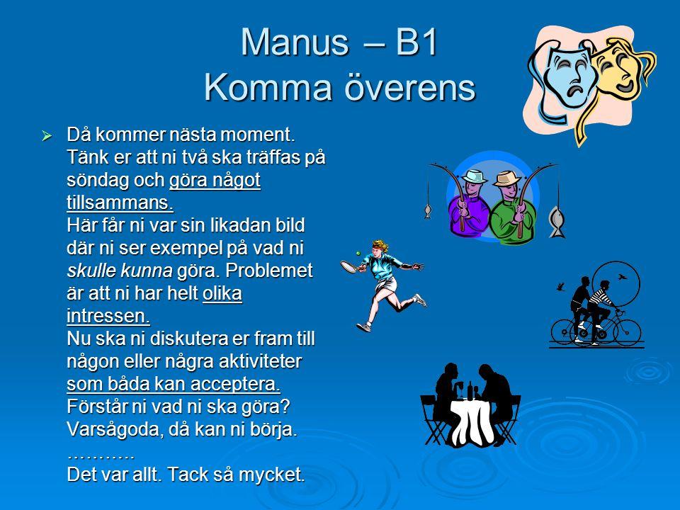 Manus – B1 Komma överens