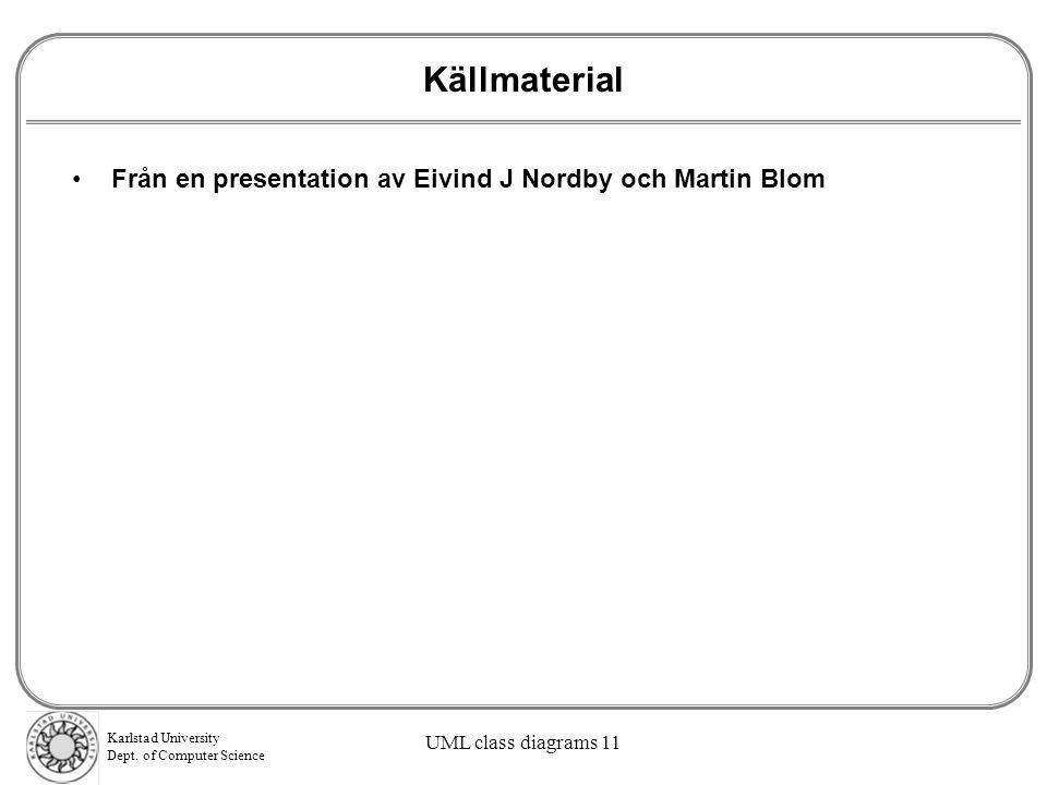 Källmaterial Från en presentation av Eivind J Nordby och Martin Blom