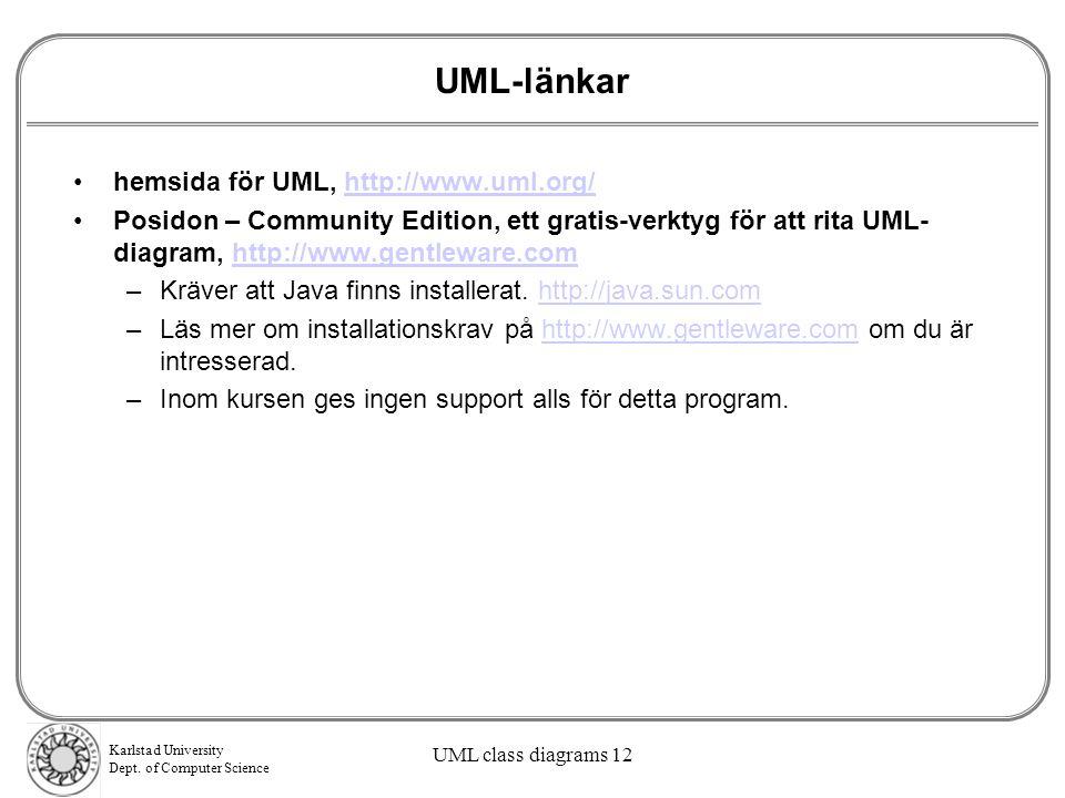 UML-länkar hemsida för UML, http://www.uml.org/
