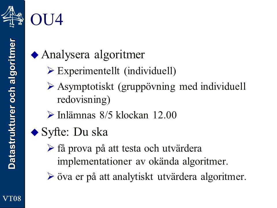 OU4 Analysera algoritmer Syfte: Du ska Experimentellt (individuell)