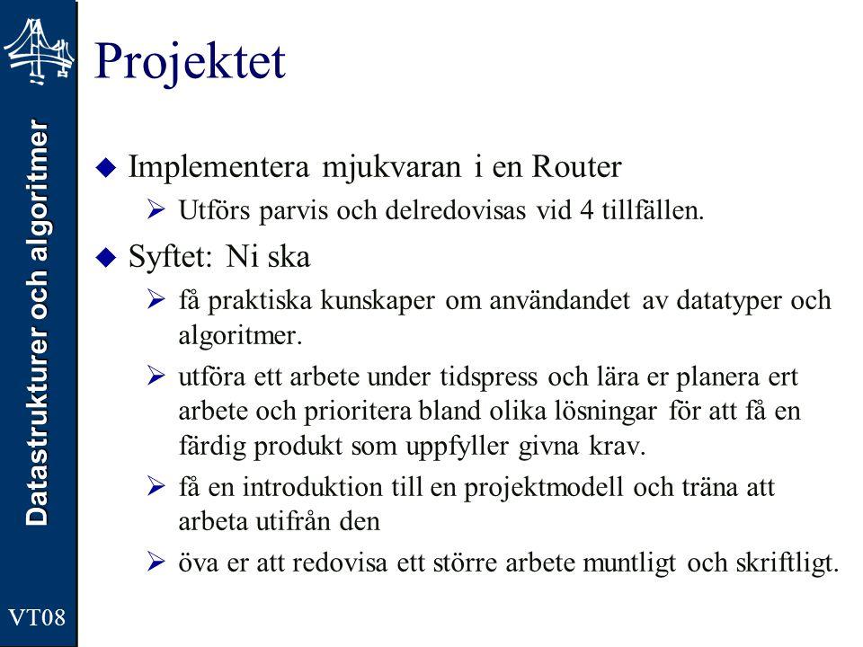 Projektet Implementera mjukvaran i en Router Syftet: Ni ska