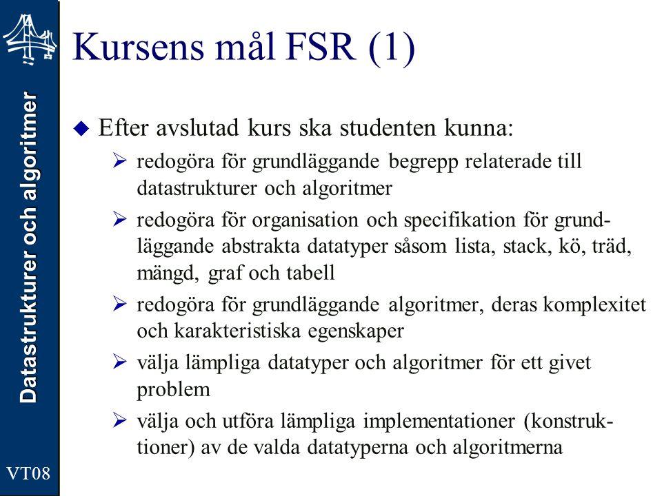 Kursens mål FSR (1) Efter avslutad kurs ska studenten kunna: