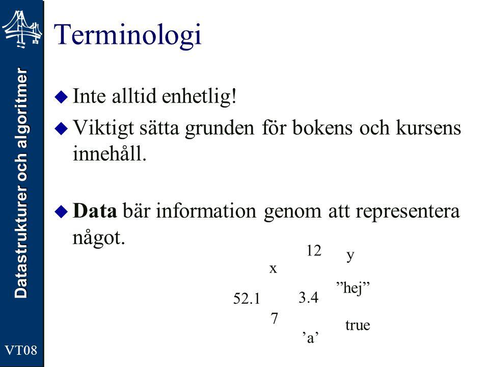Terminologi Inte alltid enhetlig!