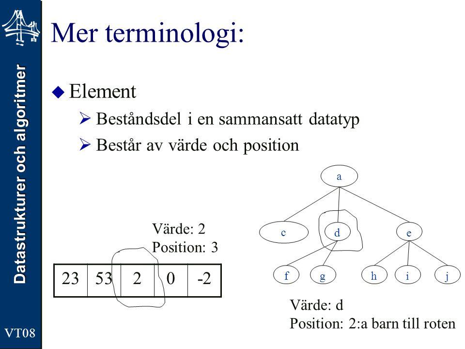 Mer terminologi: Element Beståndsdel i en sammansatt datatyp