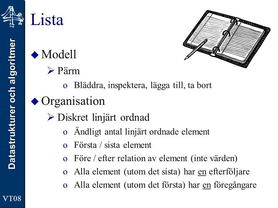 Lista Modell Organisation Pärm Diskret linjärt ordnad