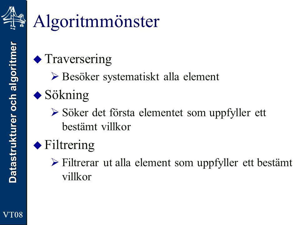 Algoritmmönster Traversering Sökning Filtrering