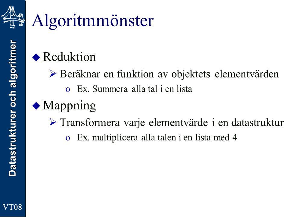 Algoritmmönster Reduktion Mappning