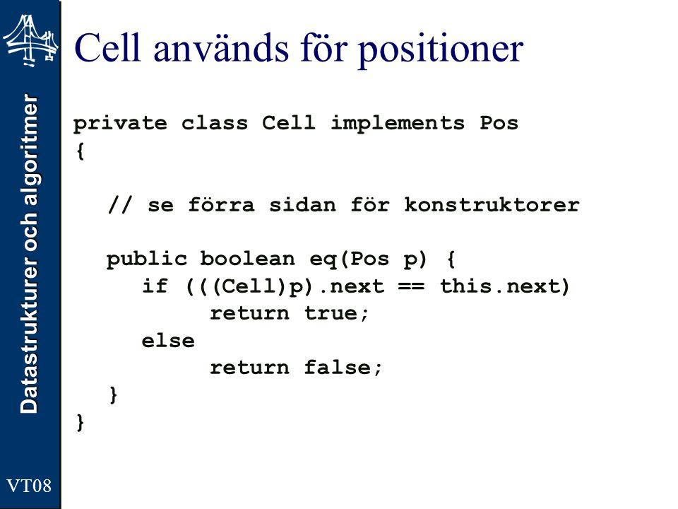 Cell används för positioner