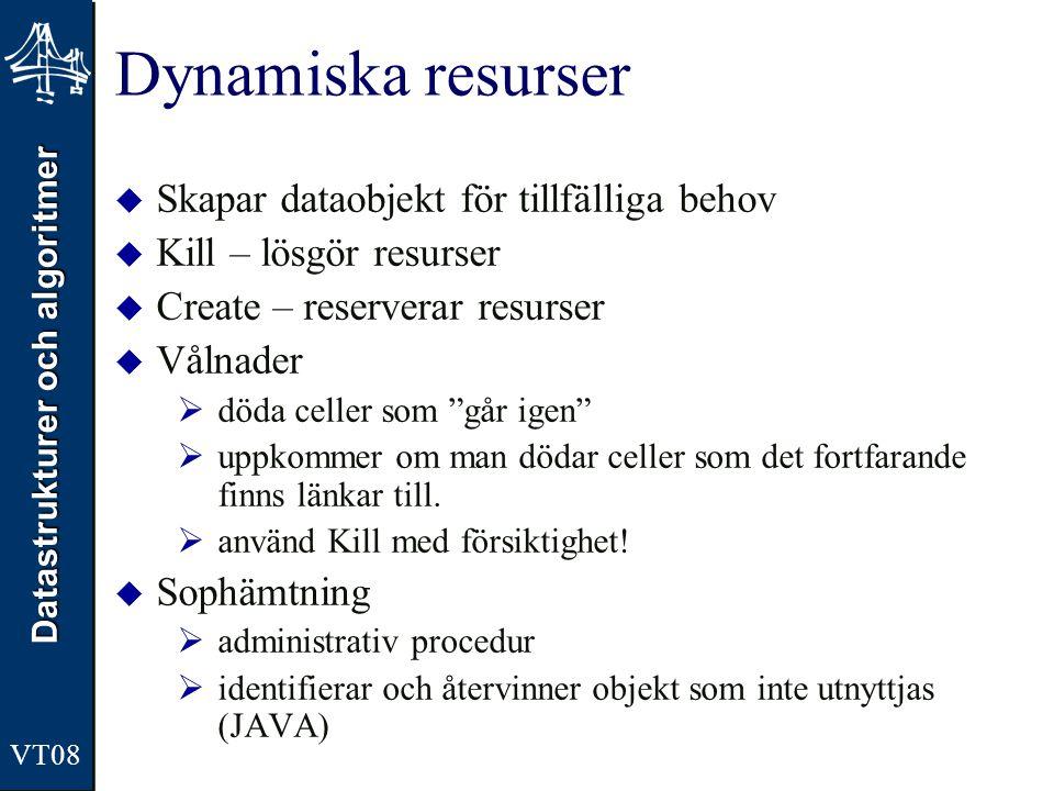 Dynamiska resurser Skapar dataobjekt för tillfälliga behov