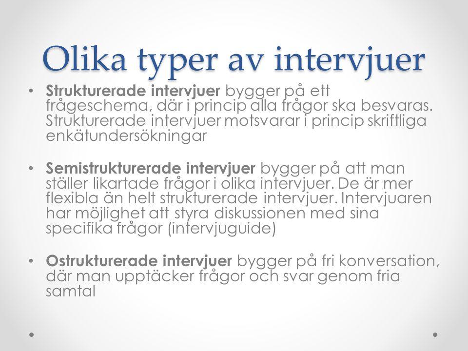 Olika typer av intervjuer