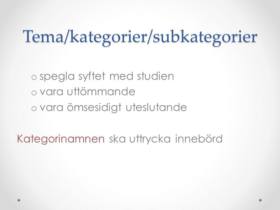 Tema/kategorier/subkategorier