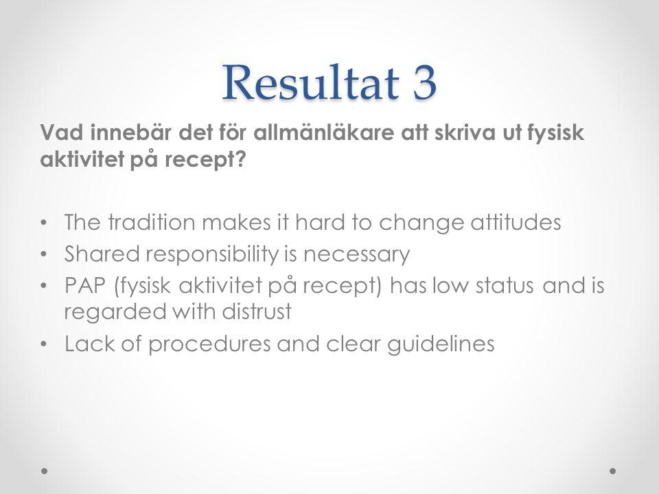 Resultat 3 Vad innebär det för allmänläkare att skriva ut fysisk aktivitet på recept The tradition makes it hard to change attitudes.