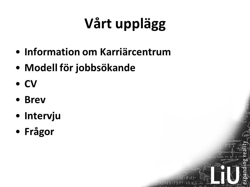 Vårt upplägg Information om Karriärcentrum Modell för jobbsökande CV