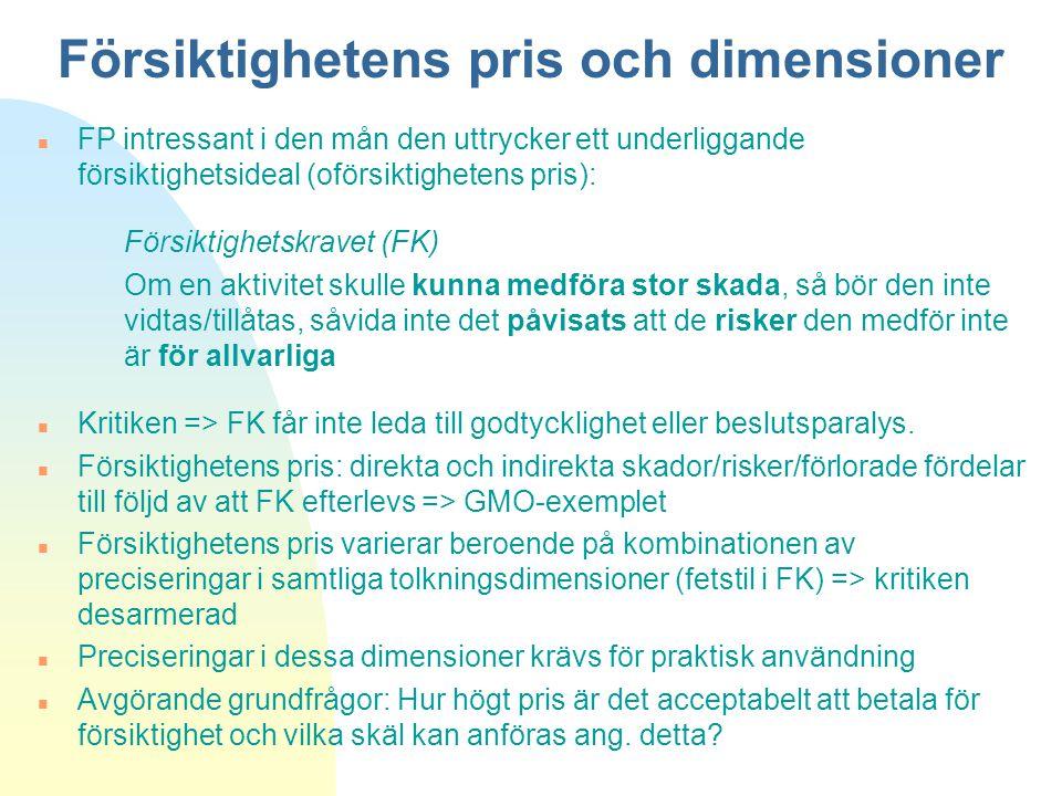 Försiktighetens pris och dimensioner
