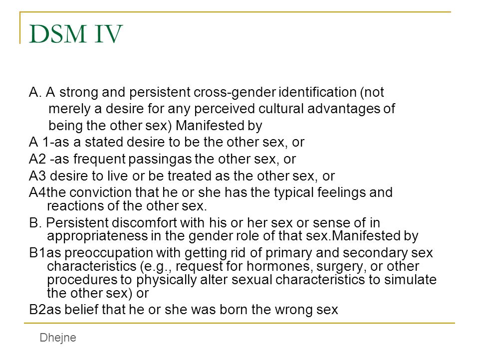DSM IV A. A strong and persistent cross-gender identification (not