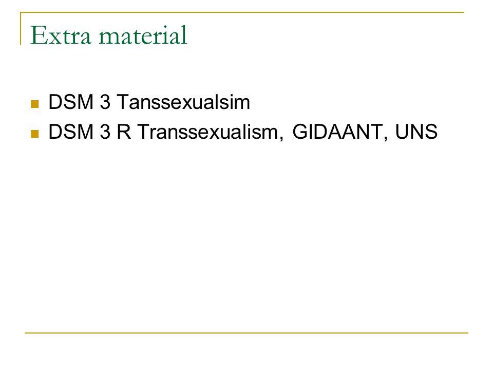 Extra material DSM 3 Tanssexualsim