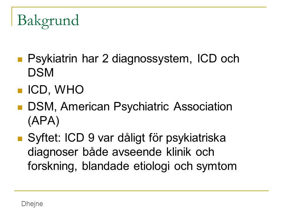 Bakgrund Psykiatrin har 2 diagnossystem, ICD och DSM ICD, WHO