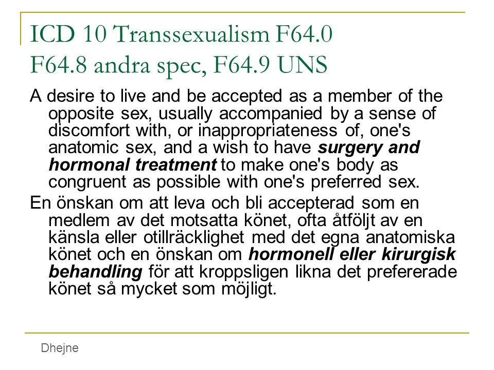 ICD 10 Transsexualism F64.0 F64.8 andra spec, F64.9 UNS