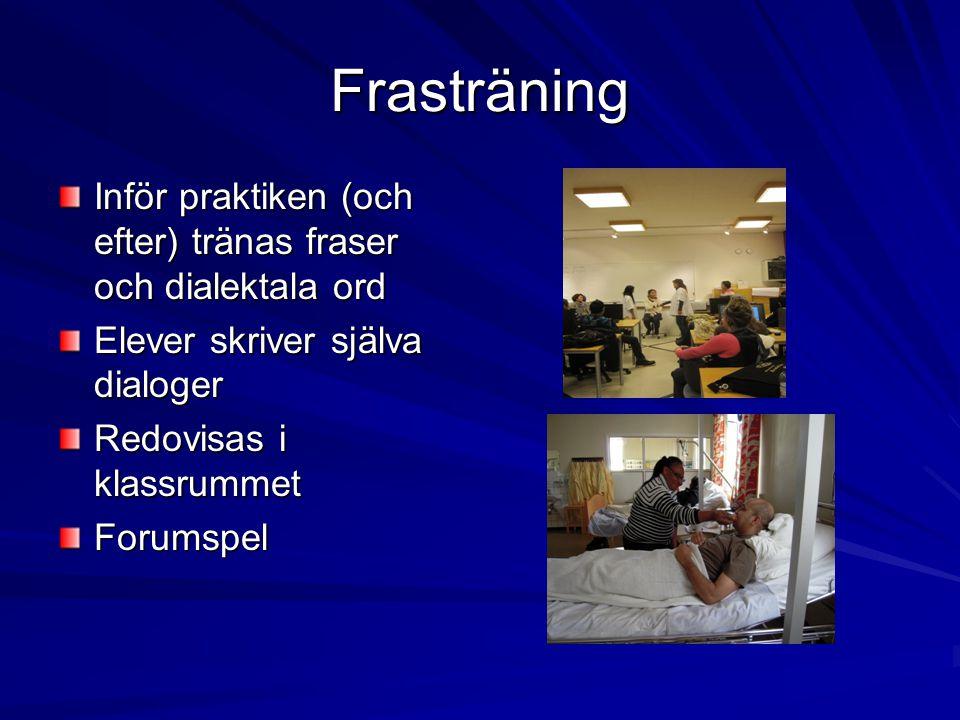 Frasträning Inför praktiken (och efter) tränas fraser och dialektala ord. Elever skriver själva dialoger.