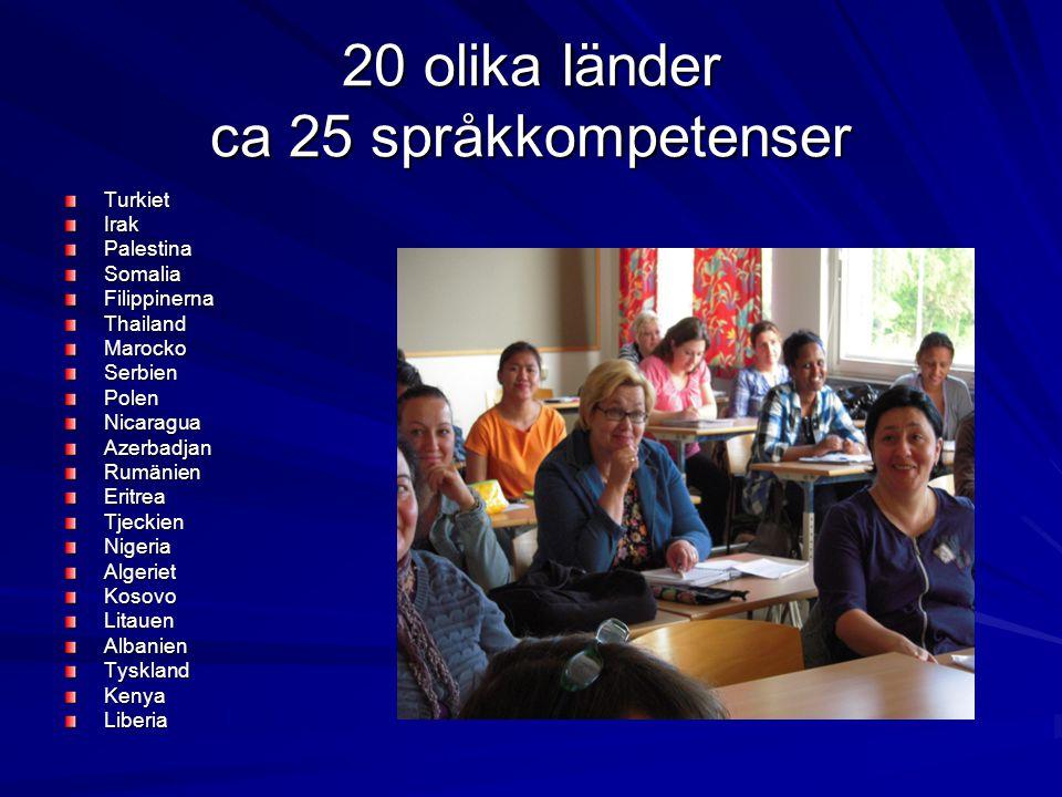 20 olika länder ca 25 språkkompetenser