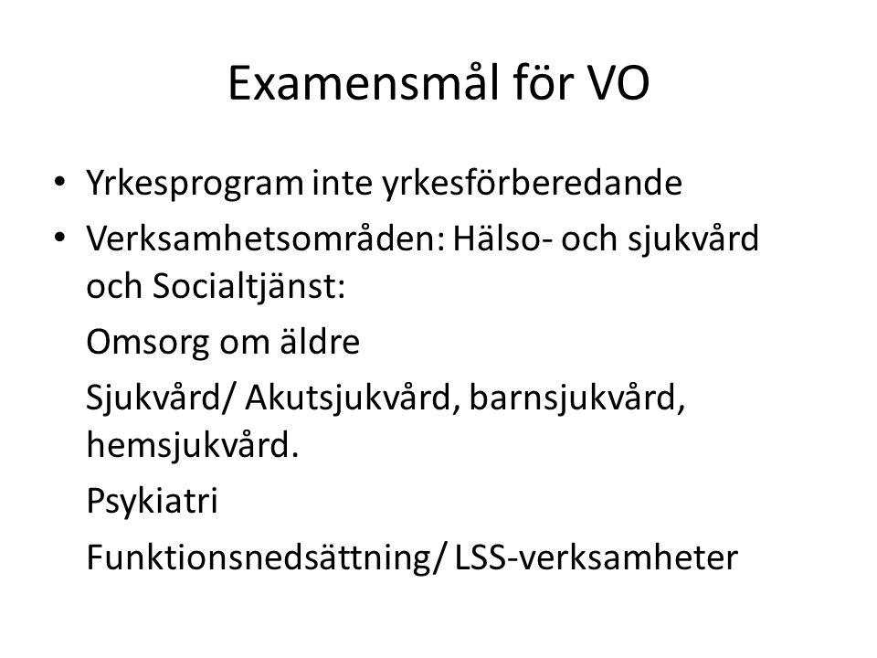 Examensmål för VO Yrkesprogram inte yrkesförberedande