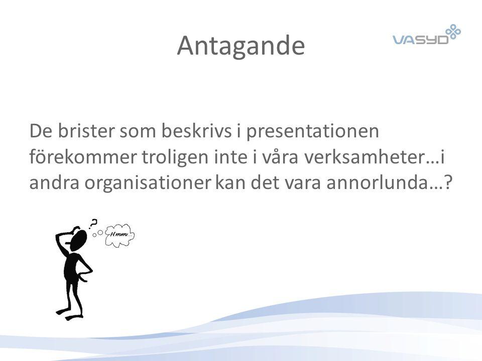 Antagande De brister som beskrivs i presentationen förekommer troligen inte i våra verksamheter…i andra organisationer kan det vara annorlunda…