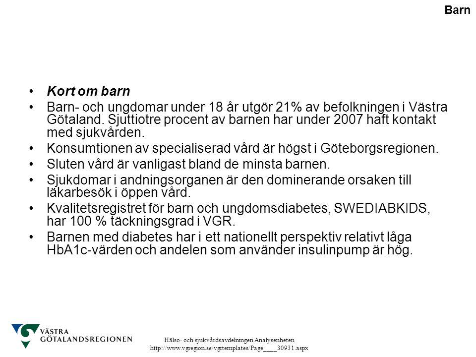 Konsumtionen av specialiserad vård är högst i Göteborgsregionen.