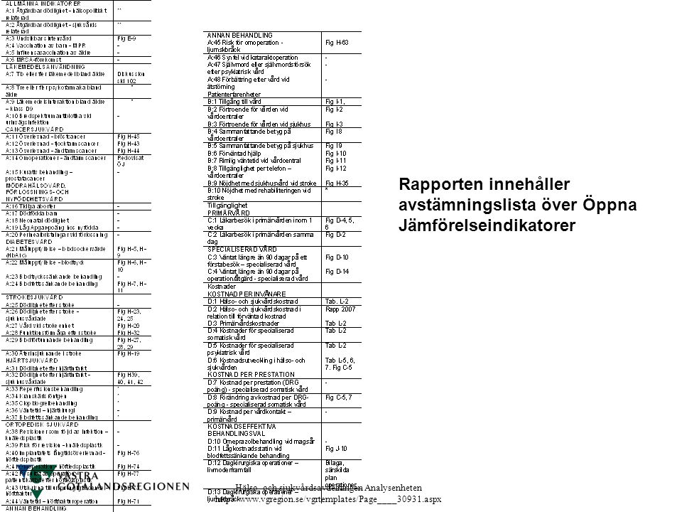 Rapporten innehåller avstämningslista över Öppna Jämförelseindikatorer