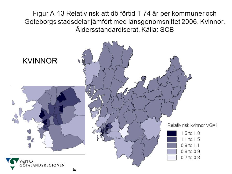 Figur A-13 Relativ risk att dö förtid 1-74 år per kommuner och Göteborgs stadsdelar jämfört med länsgenomsnittet 2006. Kvinnor. Åldersstandardiserat. Källa: SCB