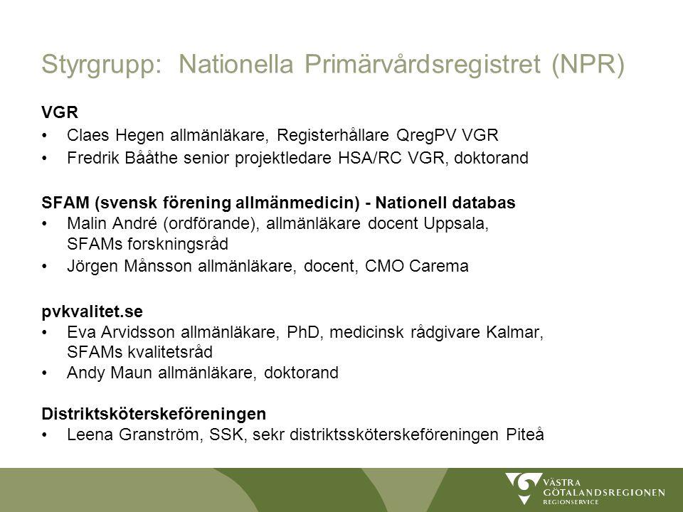 Styrgrupp: Nationella Primärvårdsregistret (NPR)