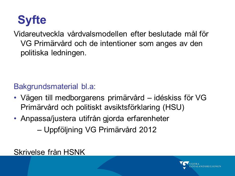 Syfte Vidareutveckla vårdvalsmodellen efter beslutade mål för VG Primärvård och de intentioner som anges av den politiska ledningen.