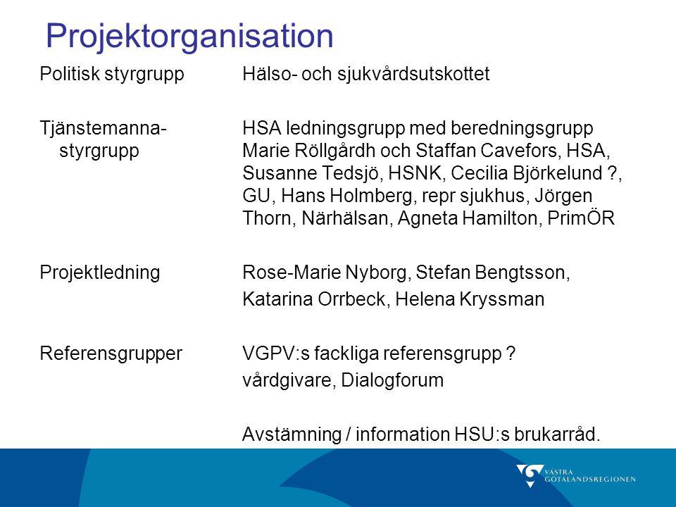 Projektorganisation Politisk styrgrupp Hälso- och sjukvårdsutskottet
