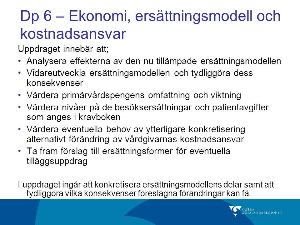 Dp 6 – Ekonomi, ersättningsmodell och kostnadsansvar
