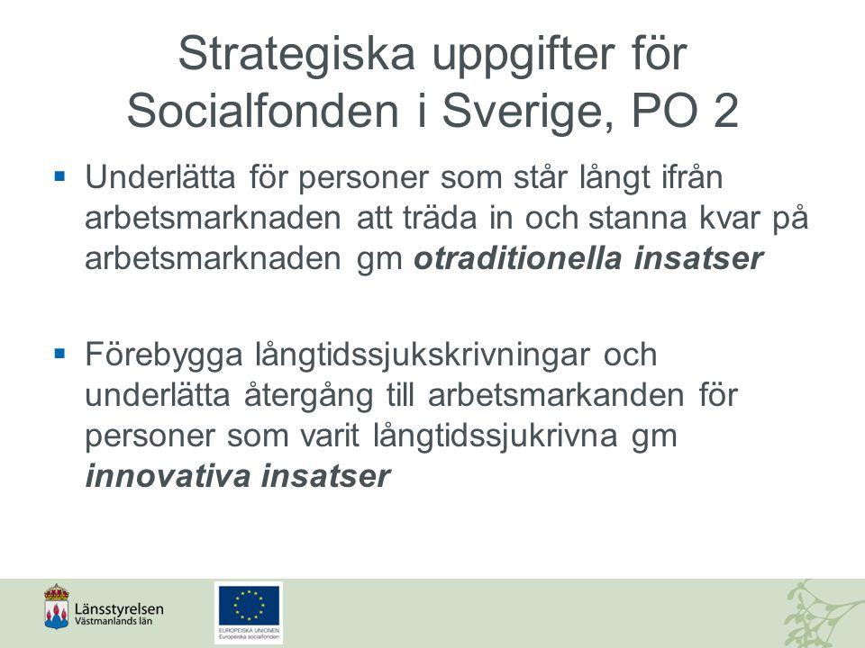 Strategiska uppgifter för Socialfonden i Sverige, PO 2