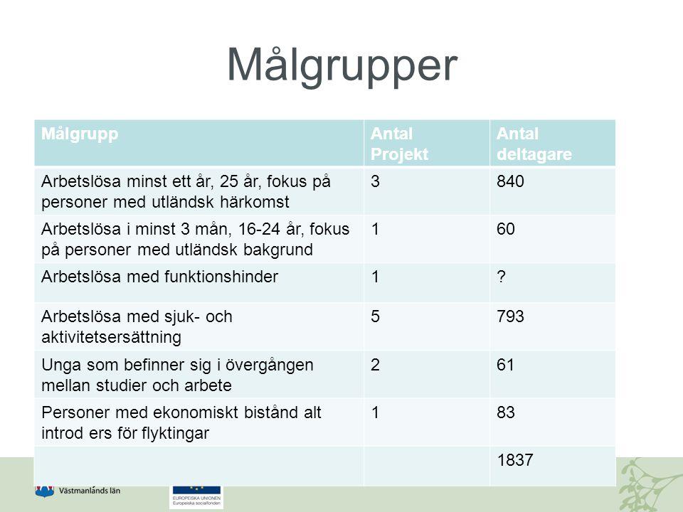 Målgrupper Målgrupp Antal Projekt Antal deltagare