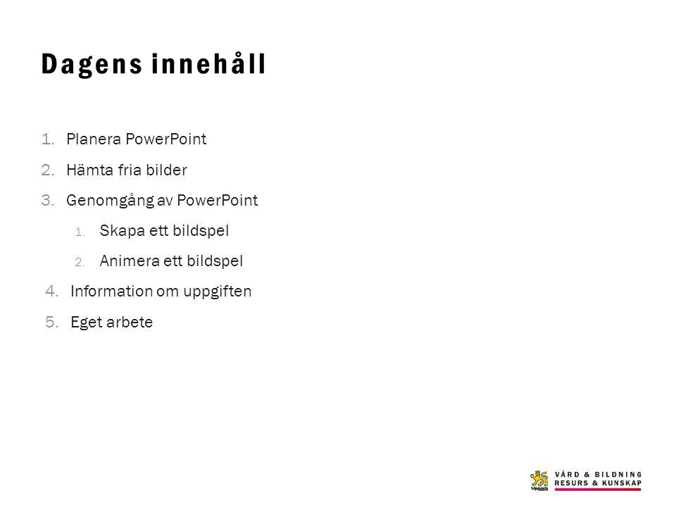 Dagens innehåll Planera PowerPoint Hämta fria bilder