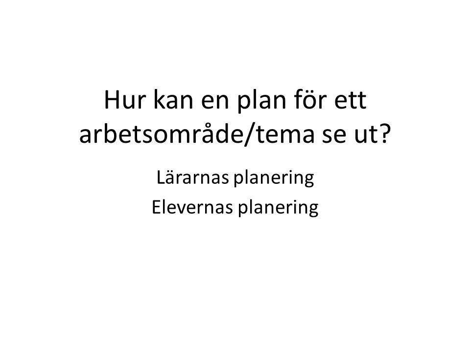 Hur kan en plan för ett arbetsområde/tema se ut