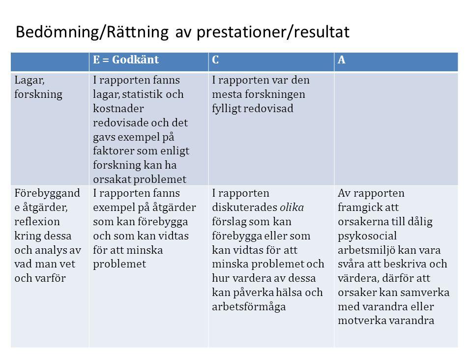 Bedömning/Rättning av prestationer/resultat