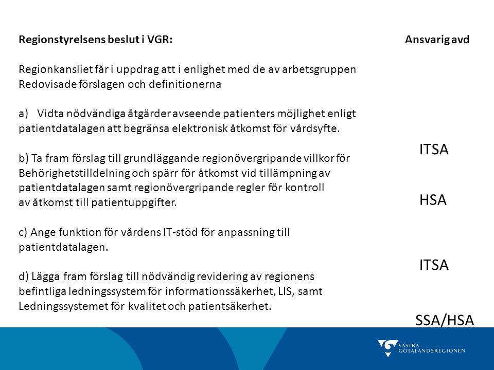 ITSA HSA ITSA SSA/HSA Regionstyrelsens beslut i VGR: Ansvarig avd