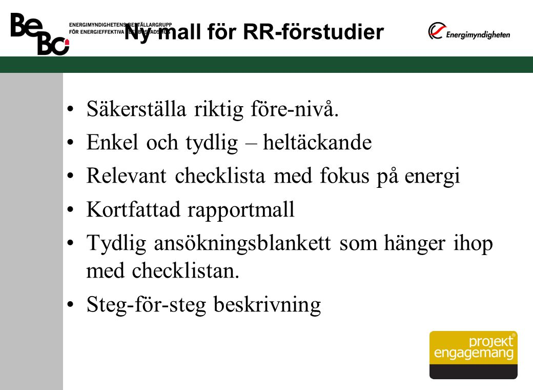 Ny mall för RR-förstudier