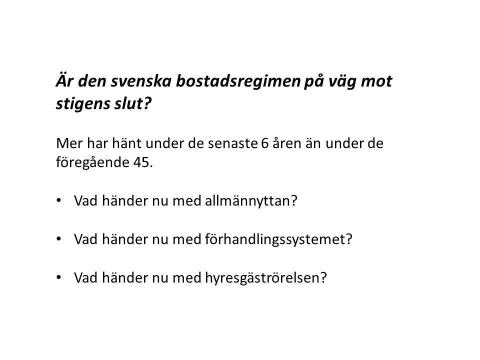 Är den svenska bostadsregimen på väg mot stigens slut