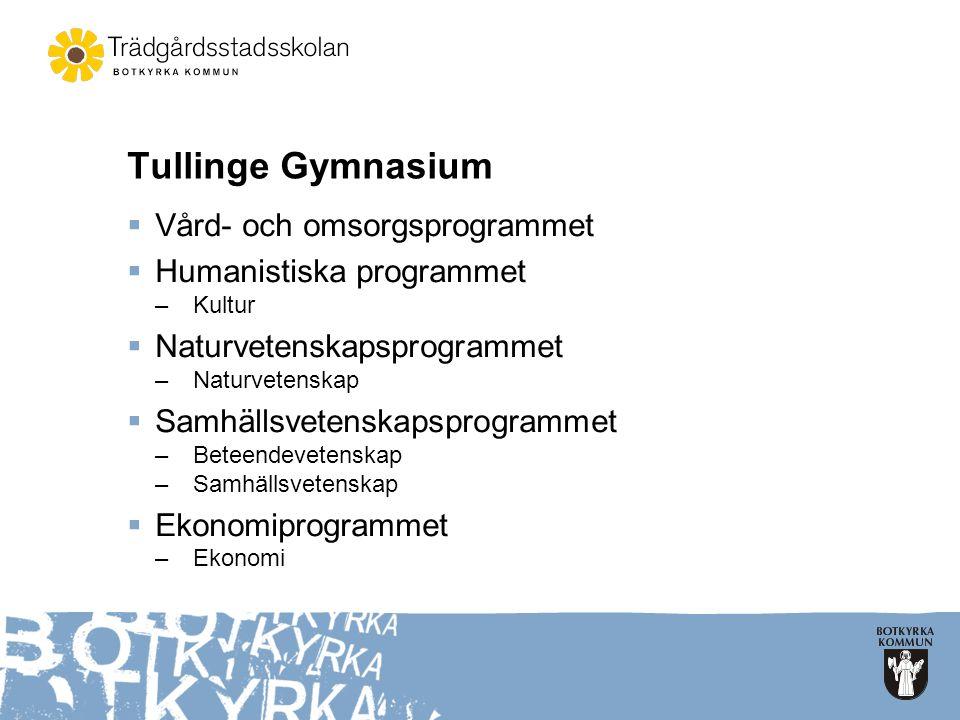 Tullinge Gymnasium Vård- och omsorgsprogrammet Humanistiska programmet
