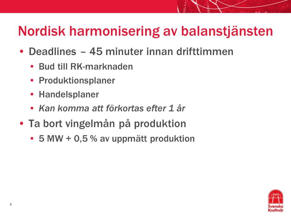 Nordisk harmonisering av balanstjänsten