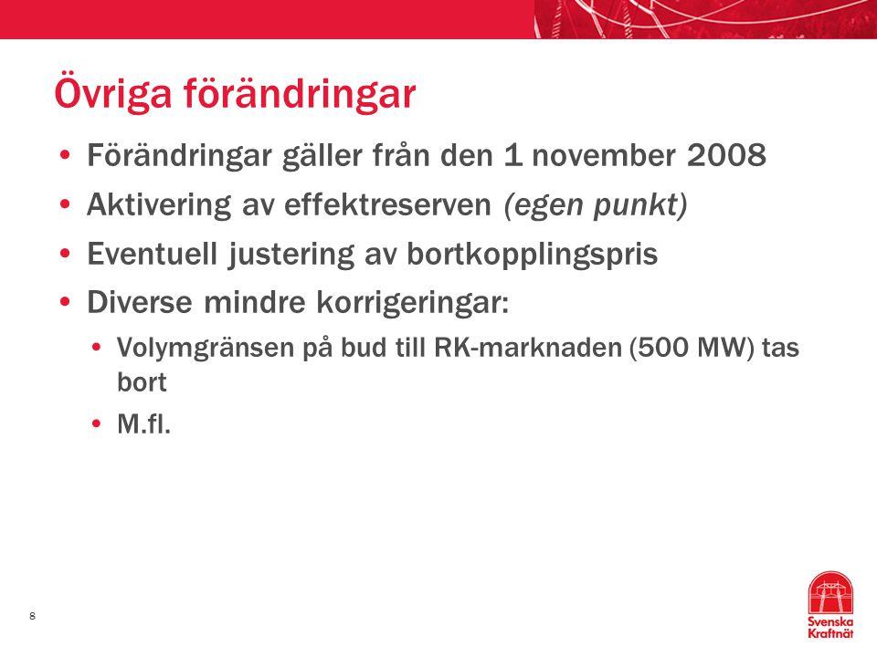 Övriga förändringar Förändringar gäller från den 1 november 2008