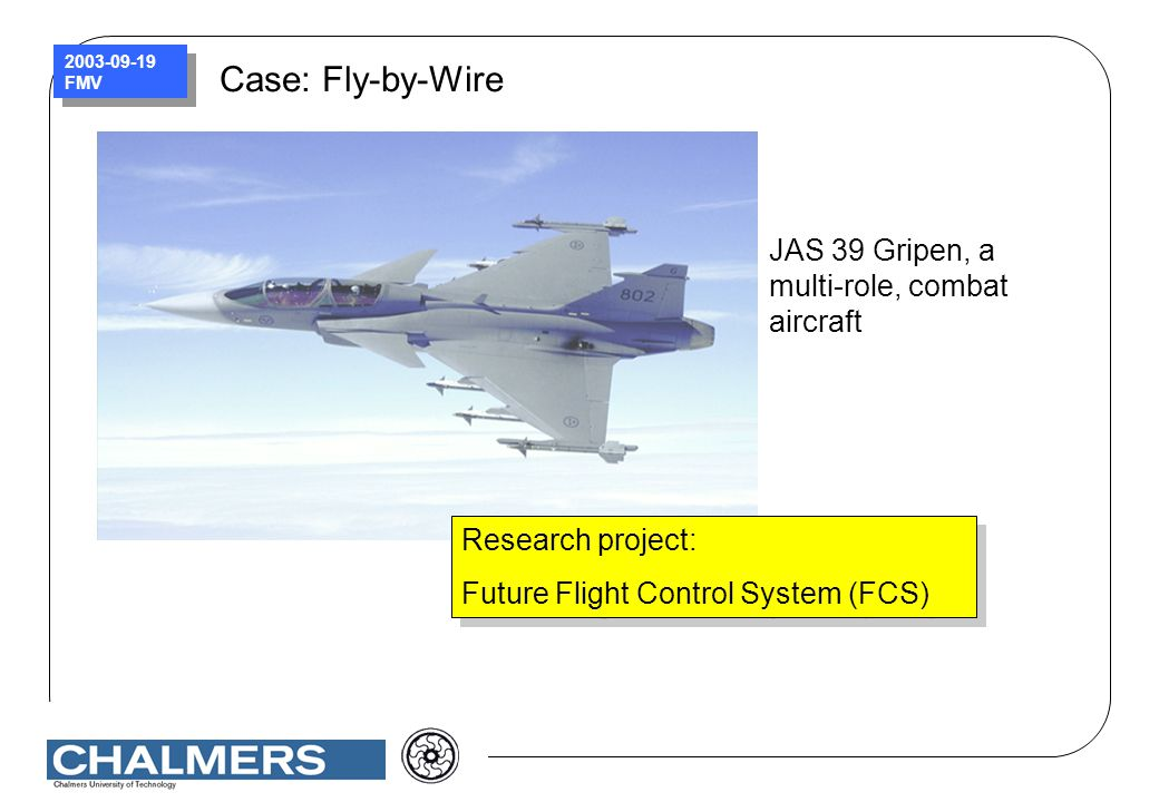 Case: Fly-by-Wire JAS 39 Gripen, a multi-role, combat aircraft