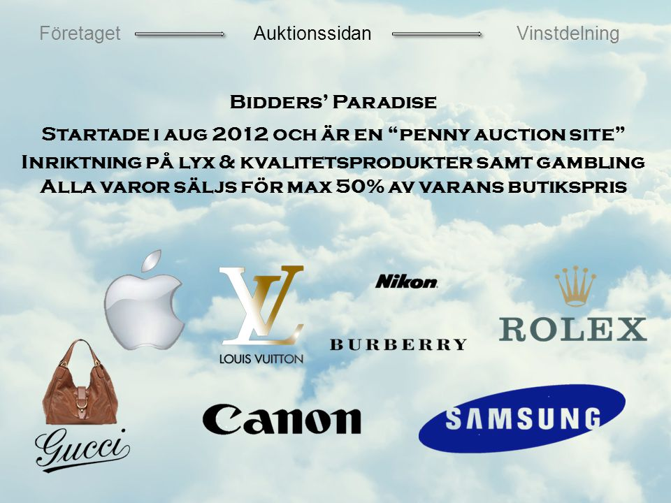 Bidders' Paradise Startade i aug 2012 och är en penny auction site