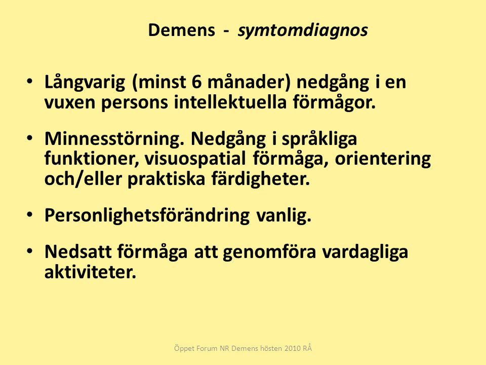 Demens - symtomdiagnos