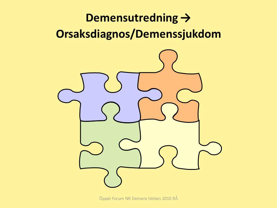 Demensutredning → Orsaksdiagnos/Demenssjukdom